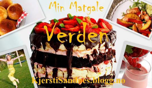 Førstesiden på bloggen til Kjersti Sandnes, «Min matgale verden»