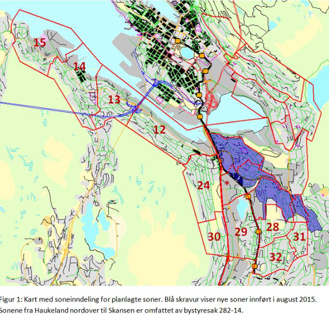 De fleste av de nummererte områdene får trolig boligsoneparkering i løpet av 2016.