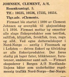Kopi fra Det Norske Næringsliv, Bergen Fylke 1945, med informasjon om Clement Johnsen AS.