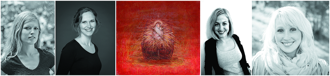 """Sentrale under konserten i Årstad kirke, fra venstre sopranene Sunniva Lien Olsen, Sigrun Jørdre, illustrasjon: """"Julekrybben"""" av Helge Gran Bøe, Ingunn Olsen Høgetveit og Rikke Lina Lina Sorell Matthiesen."""