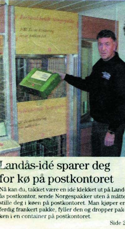 Landåspostens oppslag i desember 2000 om Norgespakke-ideen på Landås postkontor som ga køfri innlevering av pakker.