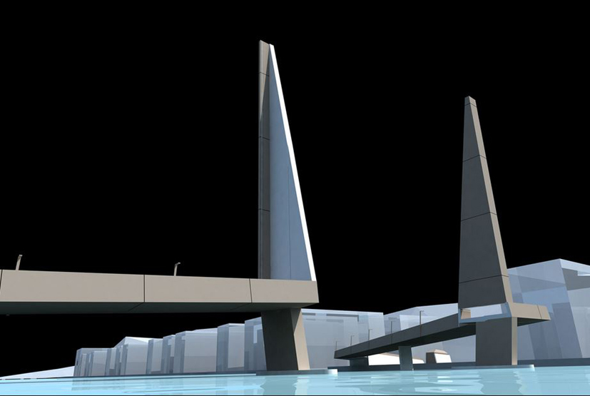 Småpudden. NCC bygger klaffebro over Damsgårdssundet. Illustrasjon: Rambøll.