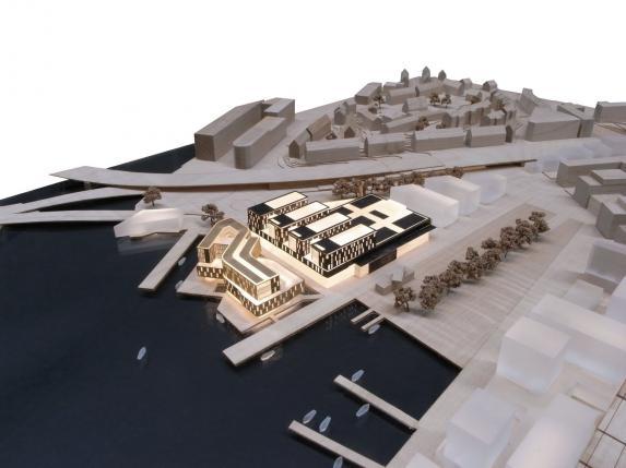 Oversikrtsbilde over området som skal bygges ut mellom Solhemsgaten og Bergen Helsehus. Illustrasjon: Arkitektkontoret Vaardal-Lunde as og Metropolitan Workshops.