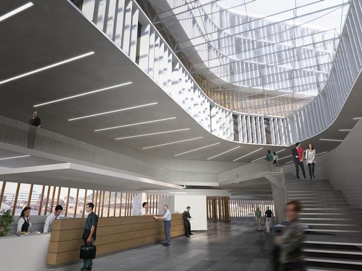 Vestibylen i det nye hotellet i Solheimsviken. Illustrasjon: Arkitektkontoret Vaardal-Lunde as og Metropolitan Workshops.