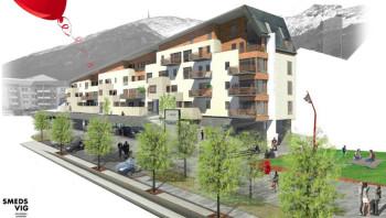 30 nye leiligheter, dagligvarebutikk, torg og lekeplass i Erleveien