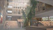 De fire øverste etasjene på nye Haraldsplass Diakonale Sykehus blir sengeavdelinger. Illustrasjon: C. F. Møller Arkitekter.