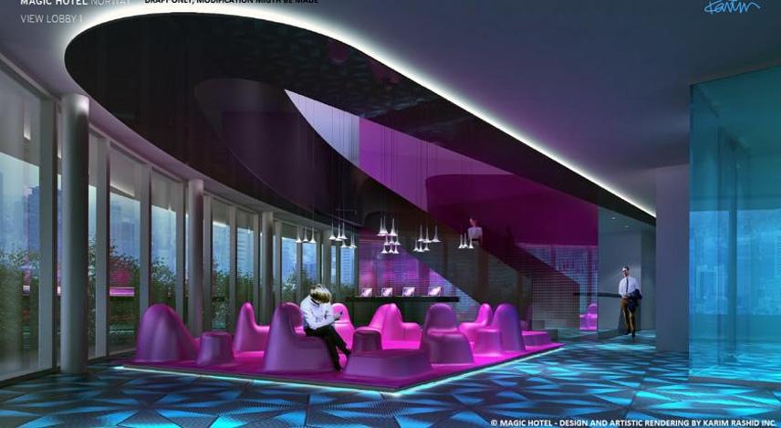 Magic Hotel blir en opplevelse utenom det vanlige for de besøkende. Illustrasjon: Magic Hotel/Karim Rashid Inc.