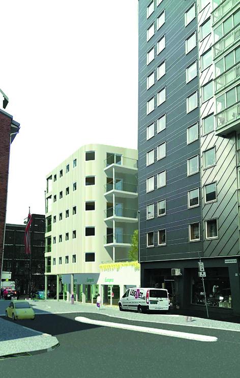 Solheimsgaten 58, med røtter tilbake tilbake til 1880-tallet, skal rives og erstattes med et nybygg på seks etasjer. Bygget skal inneholde næringslokaler i 1. etasje, bolig og kontorlokaler i 2. etasje, og 13 leiligheter i de øvrige etasjene. Illustrasjon: Hellandhus AS.