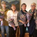25-års jubilant og nybakte pensjonister i Hjemmesykepleien sone Landås. Fra venstre: pensjonist Signe Nytræ, 25-års jubilant Margrethe Bergsvik, pensjonist Åse Karin Martinussen, pensjonist Liv Solheim, pensjonist Ruth Løland og pensjonist Åsa Dahl.