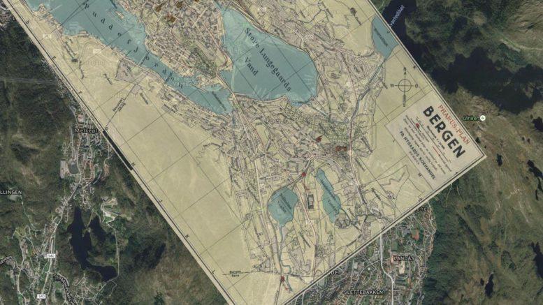 Pharus-Plans kart fra 1920-tallet omfatter hele Bergen og de sentrale deler av Årstad.