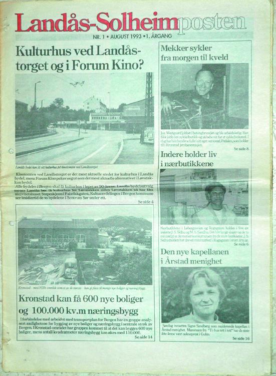 Førstesiden på Landås-Solheimpostens første utgave i august 1993.