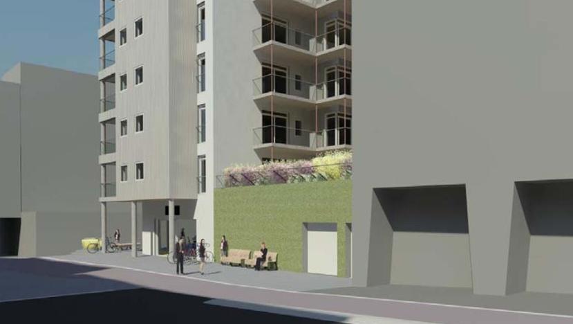 Nybygg med butikk og 15 familieleiligheter i Solheimsgaten