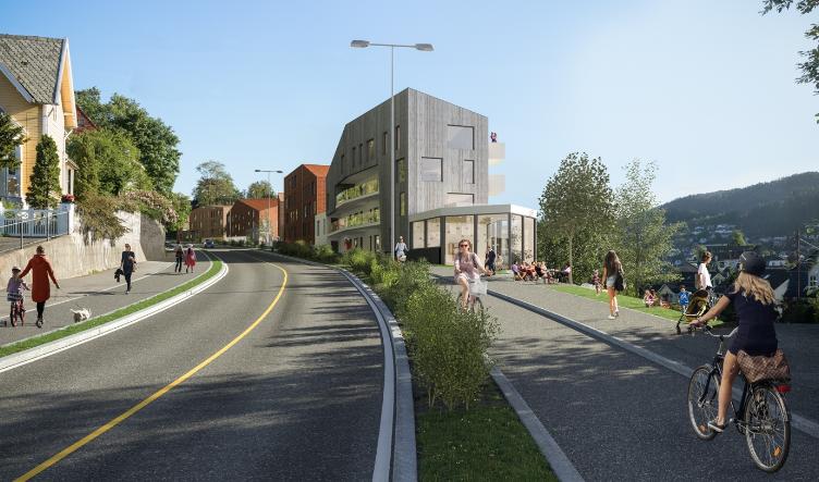 Ti villaer i Nyhaugveien foreslås revet, 160 nye boliger i åtte blokker