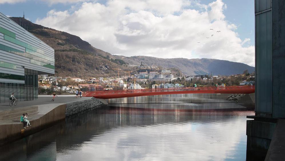 Bergens nye knallrøde bro skal hete Nonnekloppen