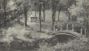 Landlig idyll ved Fløenbekken i 1837