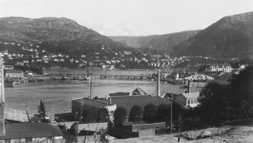 Nygårdsbroen og Solheimsviken for hundre år siden