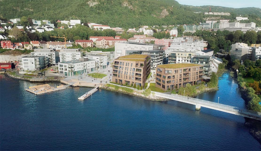 80 leiligheter fordelt på tre bygg på høyhustomten
