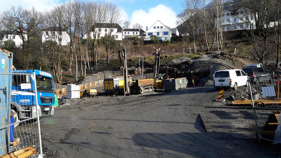 Anleggsarbeid på hele bybanetraseen gjennom Årstad