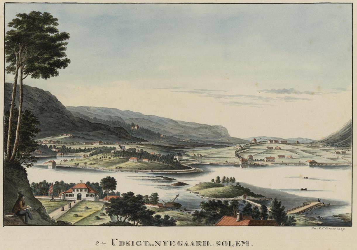 Dreiers utsikt fra Nygård og Haukeland for nær 200 år siden