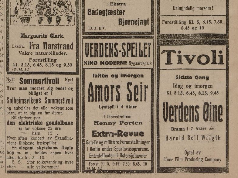Sommerunderholdningen for hundre år siden
