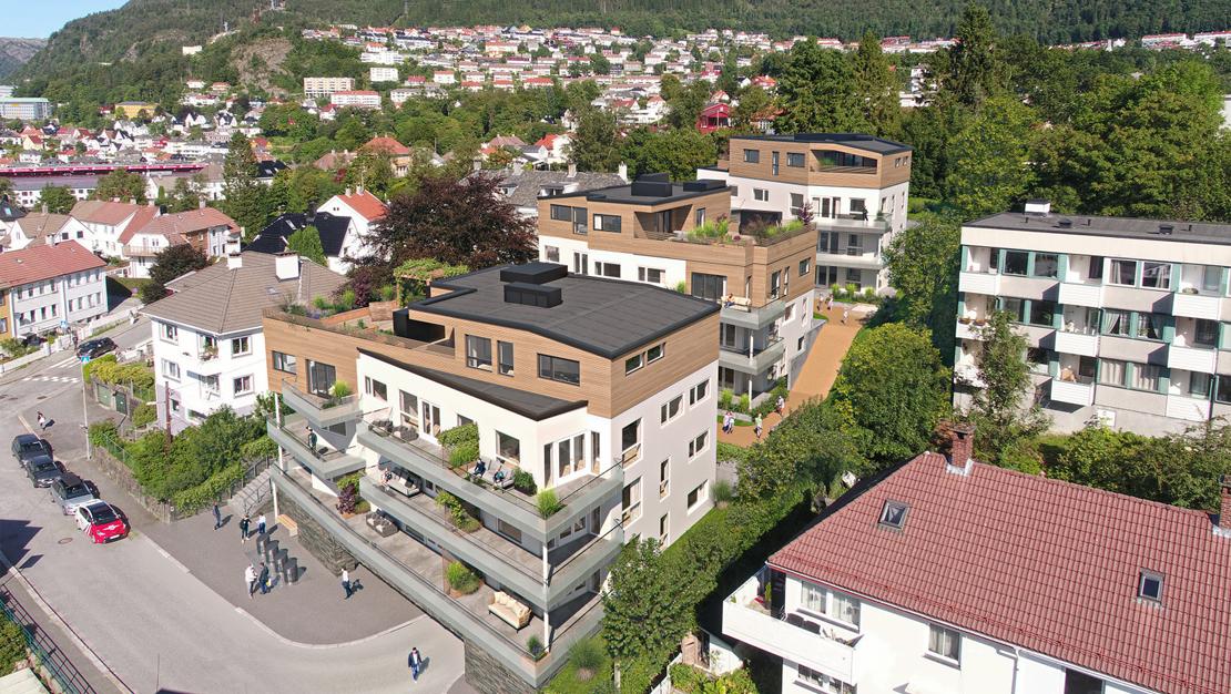 Fornyelse i Schweigårds vei på Minde: 24 leiligheter i tre nybygg