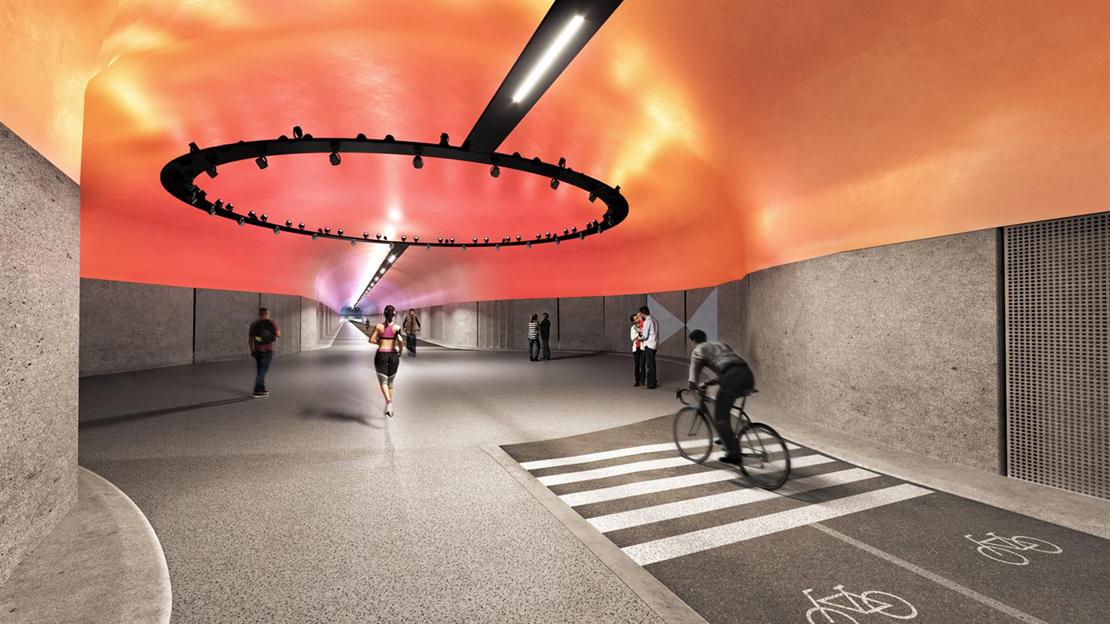 Om 16 måneder kan vi ta turen gjennom verdens lengste gang- og sykkeltunnel